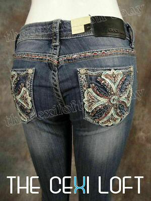 Womens GRACE IN LA Bootcut Jeans White Leather Iron Cross Turquoise Stitching!