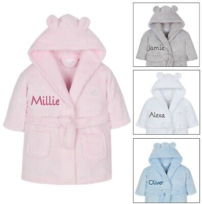 Personalised Embroidered Baby Robe Dressing Gown Hood Toddler Baby Gift Boy Girl