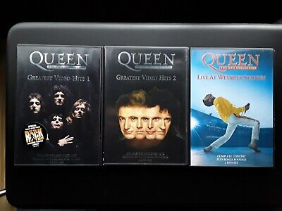 QUEEN GREATEST VIDEO HITS VOLUMES 1 & 2 & Live at Wembly (6 x DVDS) UK PAL