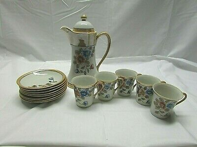 Vintage Porcelain Floral Motif Demitasse Tea Pot, Cups and Saucers Hand Painted