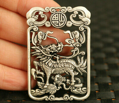 old Chinese Tibet silver hand Kylin statue pendant exorcism collectable amulet