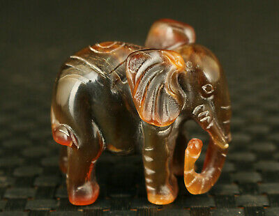 Chinese tibetan old yak horn hand carving Elephant statue collectable decoration