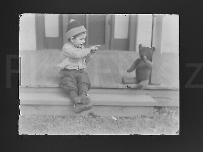 PALS KID + TEDDY BEAR On The Porch Vintage Antique Photo Glass Plate Negative