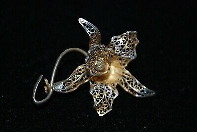 Vintage 800 Silver/Gold  Filigree Orchid Flower Iris Pin Brooch BEAUTIFUL