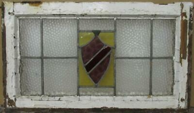 "MIDSIZE OLD ENGLISH LEADED STAINED GLASS WINDOW Gorgeous Shield Design 27"" x 16"""