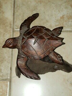 Heavy Solid Ironwood Sea Turtle Carving Large Statue Decor Nautical Ebony Rare L