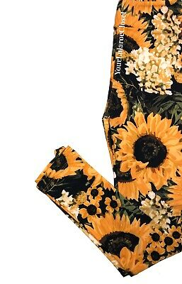 Lularoe Kids Yellow Sunflower Flower Print 🌻Leggings Pants Sz L/xl 7-12 NEW