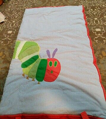 Pottery Barn Kid Eric Carle blue /lWhite gingham Hungry Caterpillar sleeping bag