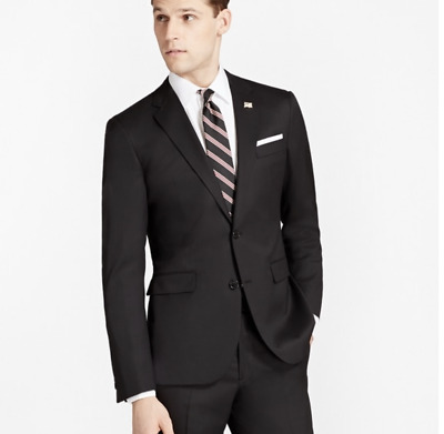 Brooks Brothers | Men's Black Milano Fit Wool Two Button Suit Jacket 42R