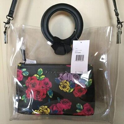 Nwt Betsey Johnson Clear /Black Crossbody/Tote W/Floral Zip Bag-Bj91400M-$78