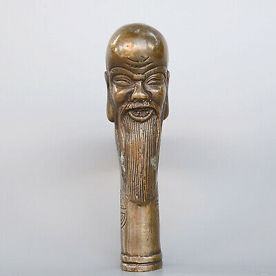 Collect Old Bronze Hand-Carved Immortal Moral Auspicious Delicate Walking Stick