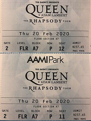 2x Queen and Adam Lambert Rhapsody Tour Melbourne Tickets 20/02/20! Great Seats!
