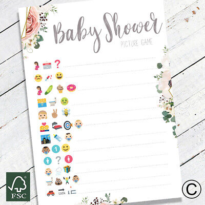 Baby Shower Games Emoji Style Quiz Party Game Baby Boy/Girl/Unisex Boho Floral