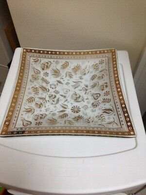 Georges Briard Persian Gardens Glass Tray Vintage 1960's