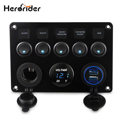 Herorider Dual USB Socket Charger DEL Voltmeter 12V Power Outlet 5 Gang ON-OFF