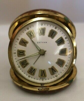 Vintage Estyma Germany Travel Alarm Clock *Spares And Repairs* (D5)