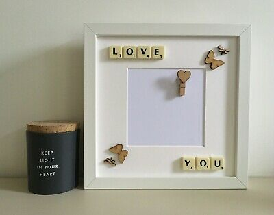 (e) Scrabble Art Picture Love Photo Frame - Couples Any Occasion Valentines Day