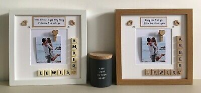 (d) Scrabble Art Picture Love Photo Frame - Couples Any Occasion Valentines Day