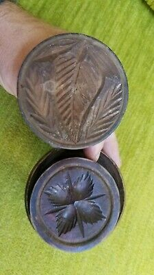 Antique Old Early Wood Wooden Heart Leaf Design Butter Mold Print Stamp 19c 19th
