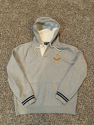 Vintage Polo Ralph Lauren 1st Division Crest Rugby Hoodie Navy Mens Size L