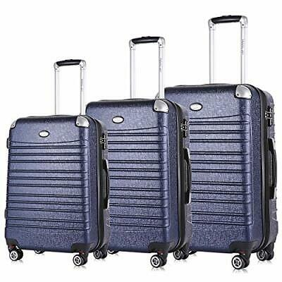 Hard Side Expandable Suitcases Lightweight 3 Pieces Luggage Set (Navy Blue)