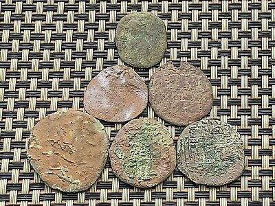 Lot Of 6 Ancient Byzantine Medieval Bronze Coins Ae Follis Different Emperors