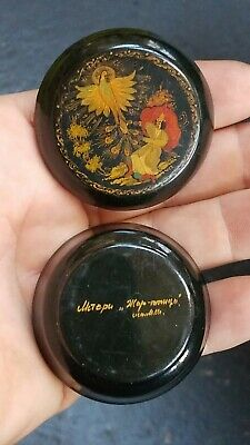 Antique Vintage Russian Hand Painted Lacquer Box Signed Great Detail