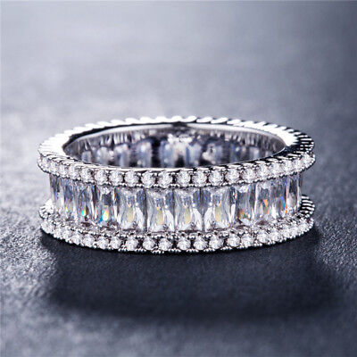 Gorgeous Wedding Rings for Women 925 Silver Emerald Cut White Sapphire Size 6