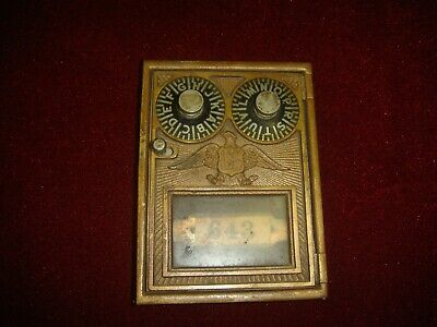 Antique Corbin  Brass Post Office Box Door Two Dial Combination