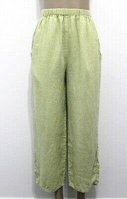 FLAX Lime Green LINEN Straight Leg Ankle Pants Women's Size S Small EUC
