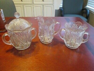 Early 1900'S Antique Glass Table Set Cream Sugar +