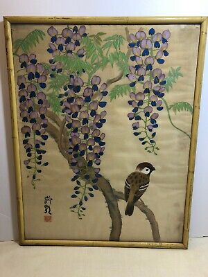 Old China Chinese Antique Vintage Bird Painting on Silk Framed with Seal Marks