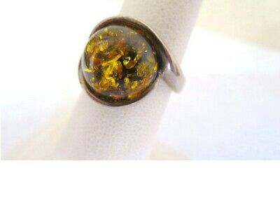 Vintage Sterling Silver Green Baltic Amber Ring Sz.7