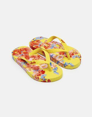 Joules Girls Printed Flip Flops in YELLOW FLORAL Size Childrens 10