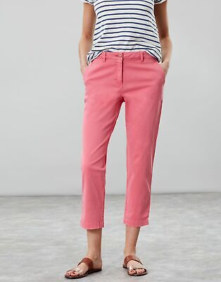 Joules Womens Hesford Crop Chinos in PINK Size 18