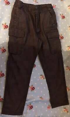 Boys Next Dark Green/ Brown Combat Style Trousers Age 10