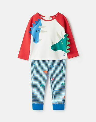 Joules Baby Mack Screenprint Top And Trouser Set in CREAM DINOS Size 0min3m