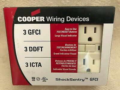 NEW Cooper Wiring Devices 3 Pack GFCI Almond FREE Shipping!
