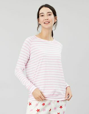 Joules Womens Abi Jersey Long Sleeve Night Top in CREAM PINK STRIPE Size 20