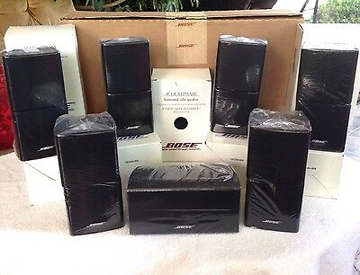 7 Bose Mint Double Cube Speakers 1 Center Channel and 6 Surround Black 7.1 & 7.2