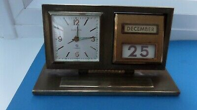 "Vintage ""Europa""  Brass Alarm Desk Clock with Perpetual Calendar - Excellent."