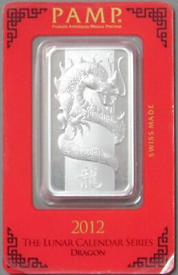 2012 1 Oz Silver Pamp Suisse Lunar Year Of The Dragon Bar Sealed