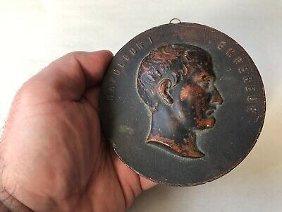 Antique French Ca. Early 19Th Century Terra Cotta Napoleon I Plaque Medallion
