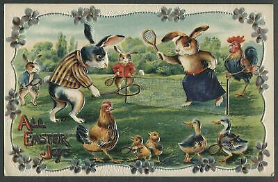 Easter Postcard~DRESSED BUNNY RABBITS PLAYING TENNIS~Chicks~Flowers~p239