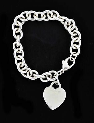 Tiffany & Co 925 Sterling Silver Heart Tag Charm Bracelet 7.75""