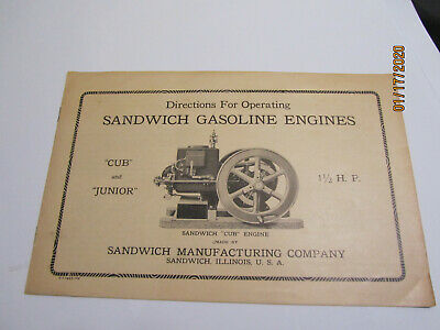 1925 1 1/2HP  Sandwich Cub & Junior Gasoline Engine Instruction Manual Original