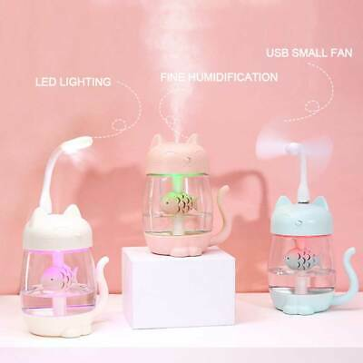 3 IN 1 350ML USB Chat Air Humidificateur Ultrason Cool-Mist Adorable Mini