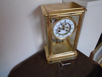 Antique French Brass 8 Day Striking 4 Glass Table Regulator Mantel Clock Working