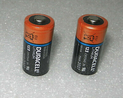 2x Duracell CR123A 3V LITHIUM BATTERY CR17345 Made in USA Exp. Mar 2027