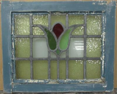 "OLD ENGLISH LEADED STAINED GLASS WINDOW Stunning Bordered Floral 20"" x 16.25"""
